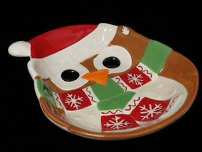 Christmas Hoot Owl Candy Dish Bowl Serving Nuts Holiday Bird Ceramic New