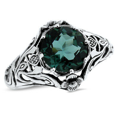GREEN SIM EMERALD .925 STERLING ANTIQUE NOUVEAU STYLE SILVER RING Sz 5,     #757