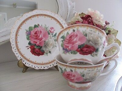 Fine Bone China Shabby Pink Rose 4 Piece Cup & Saucers Set Home decor