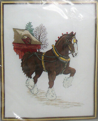 RARE Charmin Janlynn CREWEL EMBROIDERY KIT Sally Tweed CLYDESDALE Draft Horse
