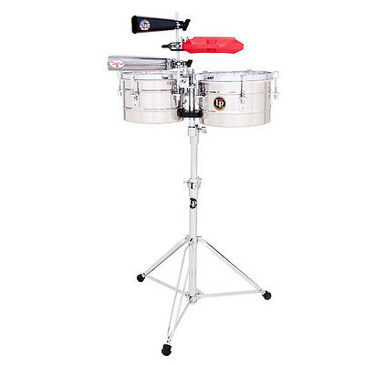 LP LATIN PERCUSSION PUENTE TIMBALITOS TIMBALE DRUMS w/ STAND -  STAINLESS STEEL