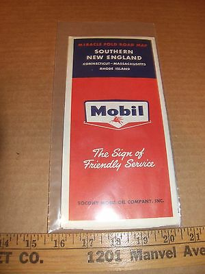 Vintage Mobil Road Map of Southern New England