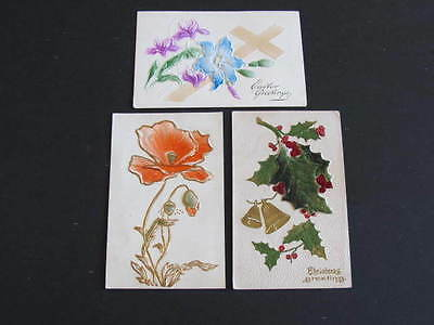 2 Applique & 1 Embossed Greeting Postcards