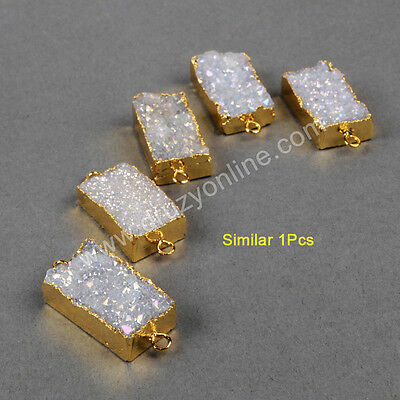 1Pcs Gold Plated Rectangle Natural Agate Titanium AB Druzy Connector AG0740