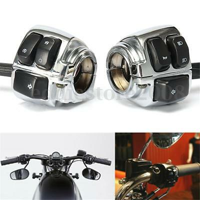 Pair Chrome Motorcycle 1'' Handlebar Control Switch + Wiring Harness for Harley