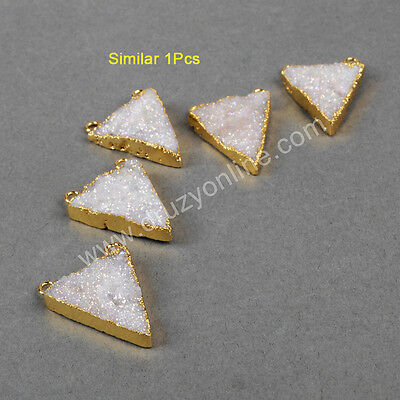 1Pcs Gold Plated Triangle Natural Agate Titanium AB Druzy Connector AG0738
