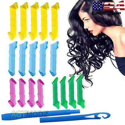 """18Pcs 6""""-10"""" Curl Hair Curlers Tool Spiral Circle Magic Styling Rollers 19/28cm"""