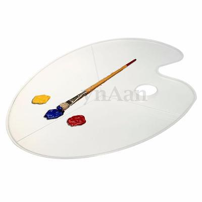 Artist Clear Paint Palette Pallet Kidney Shape Thumb Hole Oval Acrylic Mixing
