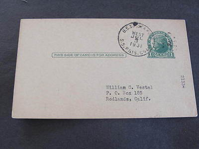 USTP Seapost Shipping Line SS Pres Grant Postal Stationery Postcard 1931