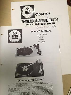 BSR Service & User Manual for AA50 5 6 5D2 C101 C107 Turntable Record Changer