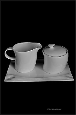 Modern 4pc Coffee Porcelain White Covered Sugar Bowl and Creamer Set w/ Tray