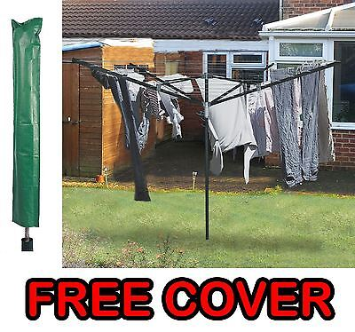 Rotary 4 Arm 50M Outdoor Garden  Washing Line Clothes Airer Dryer + Free Cover