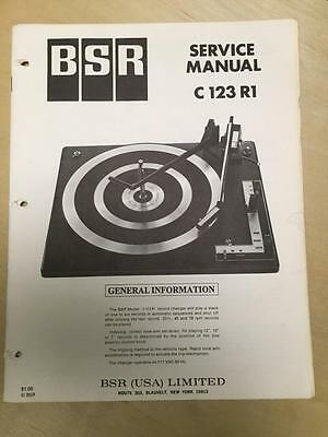 BSR Service & User Manual for the C123 R1 Turntable Record Changer