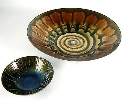 2 emaillierte Metall Schale signiert Studio Cellini Italy Enameled Bowls RARE