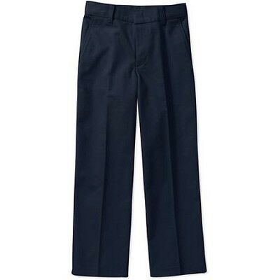 ASW Boys' School Uniform Flat Front Pants, 12, Navy
