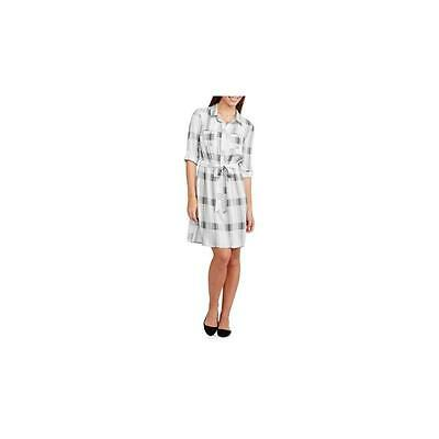 Maternity 3/4 Sleeve Belted Shirt Dress, White Plaid, X-large Faded Glory