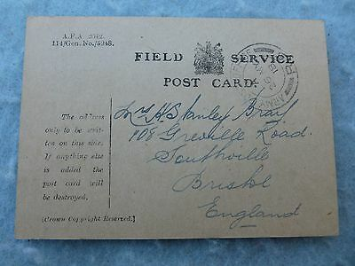 WWI British Post Card BEF Field Service w Army Post Office Stamp & Signed IDed