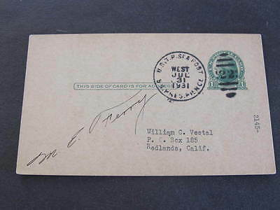 1931 USTP Seapost Shipping Line SS Pres Pierce Postal Stationery Postcard