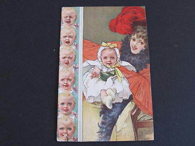Attractive Edwardian drawn Postcard Lady in hat with baby Postally used Langley