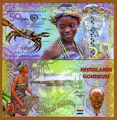 Netherlands Guinea (Ghana), 50 Gulden, 2016, Private Issue POLYMER, UNC   Crab