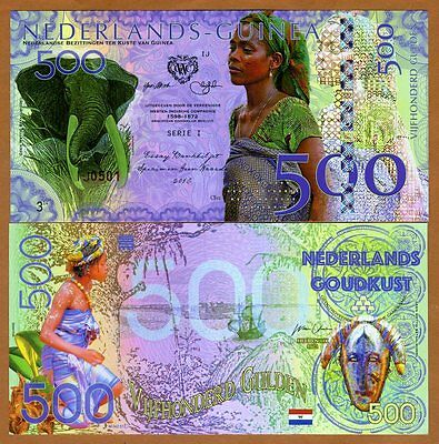 Netherlands Guinea (Ghana) 500 Gulden, 2016 Private Issue POLYMER, UNC  Elephant