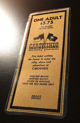 ULTRA RARE! CAROWINDS, 2nd ticket ever sold (0002) opening day 1973 Charlotte NC