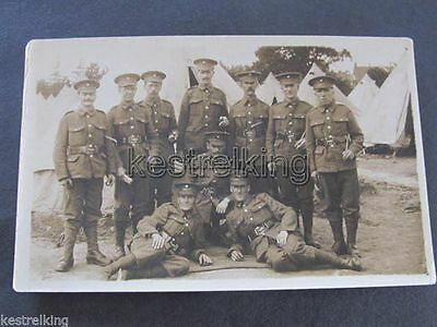 WW1 Postcard Soldiers in Uniform in Front of Camp Tents