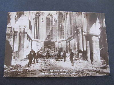 WW1 The destroyed Church in Vise Real Photo Postcard