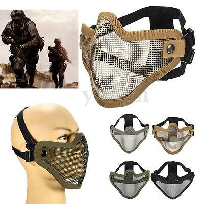 Airsoft Tactical Hunting Mesh Half Face Mask Protect Strike Paintball Halloween