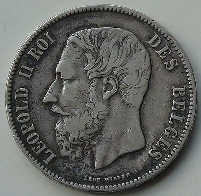 Belgium 5 Francs 1871 of Leopold II, Large Antique Silver Coin by Leopold Wiener