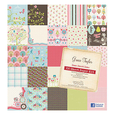 """Grace Taylor Home Sweet Home 100 Sheets 12"""" x12"""" Bumper Paper Kit * FREE POST *"""