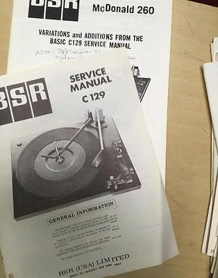 BSR Service & User Manual for the C129 McDonald 260 Turntable Record Changer