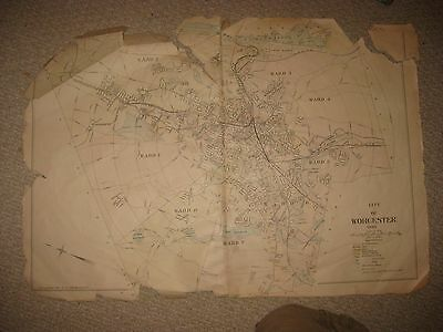 Huge Antique 1898 Worcester City Worcester County Massachusetts Handcolored Map