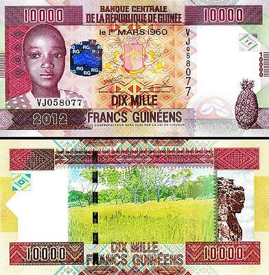 Guinea 10000 10,000 Francs 2012 Uncirculated P.46 Vj Serial