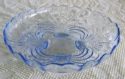 "Cambridge Glass Caprice Moonlight Blue 12.5"" Footed Round Bowl"