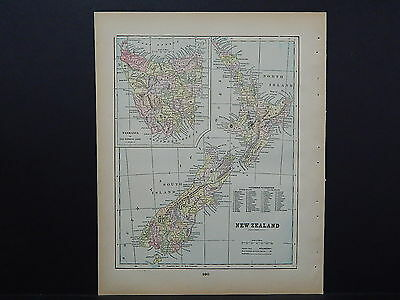Antique Map 1897, M5#2 New Zealand