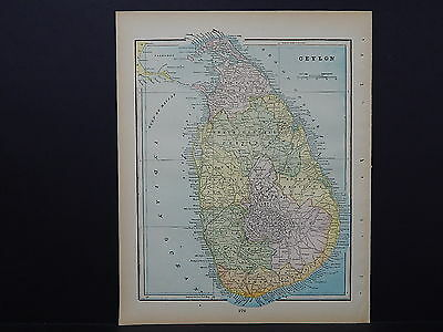 Antique Map 1897, M5#5 Ceylon (Sri Lanka)