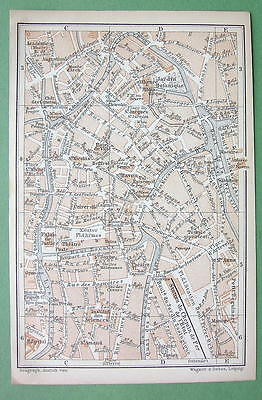1897 MAP ORIGINAL Baedeker - BELGIUM Plan of Gent City Center