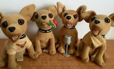 Chihuahua Dog Plush Vintage Taco Bell Set of 4 collectible Yo Quiero Applause