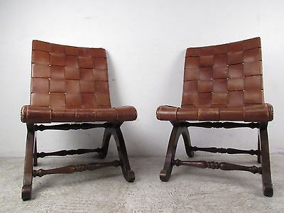 Pair of Mid-Century Modern Leather and Wood Chairs (5723)NJ