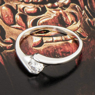 Exquisite Fashion womens White Gold Filled clear crystal Wedding Ring size 10