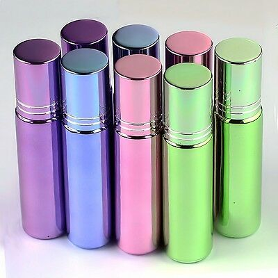 8 Pcs (blue*2 green*2 pink*2 pure*2)Roller on glass Bottles for Essential Oils