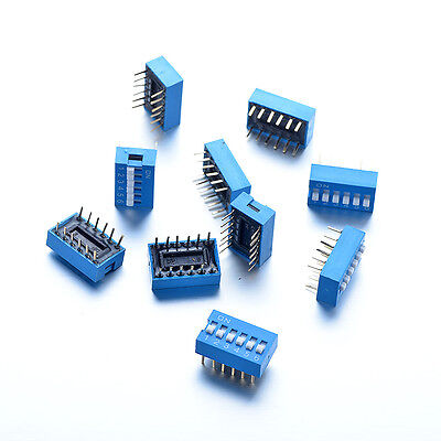 10Pcs 6 Pin 2 Positions DIP Switch 2.54mm Pitch 2 Way Terminals PCB Mountable