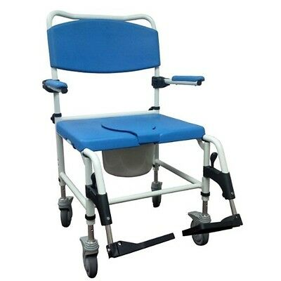 Aluminum Blue & White Bariatric Aluminum Rehab Shower Commode Chair NRS185008