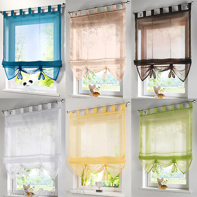 1PC Tab Top Voile Roman Blinds Liftable Curtain Kitchen Balcony Study Curtain