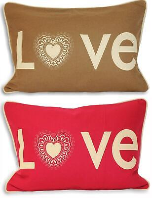 Embroidered Cushion Cover Wool Rich Scatter Oblong Case Luxury Boudoir Love New