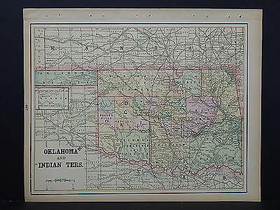 Antique Map, 1897, United States, M5#33 Oklahoma (& Indian Territory) and Alaska