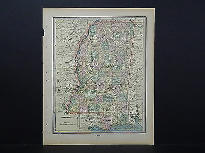 Antique Map, 1897, United States, M5#39 Mississippi and Louisiana