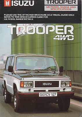 Isuzu Trooper 4WD LWB/SWB Brochure - 1987