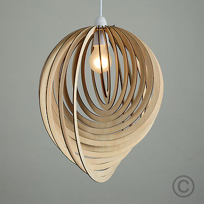 Contemporary Wooden 3D Sphere Droplet Ceiling Pendant Light Shade Lampshade